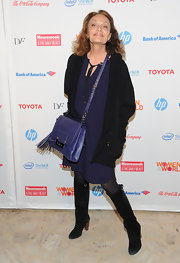 Diane von Furstenberg wore this dark blue tunic dress to the World Summit.