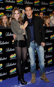 Maria Valverde was rocker-chic at the '40 Principales Awards' photocall in a biker jacket, short shorts, and black ankle boots.