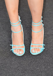 Wendi Deng stepped out at the AFI Life Achievement Awards wearing a pair of mint strappy heels.