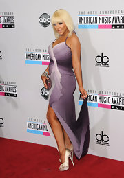 Christina walked tall in a pair of glittery peep-toe pumps on the 2012 AMAs.