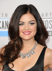 Lucy Hale's bouncy, loose curls were the perfect compliment to her ladylike look at the 40th American Music Awards.