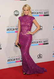 We have only one word for Carrie Underwood's incredible beaded full-length gown—wow!