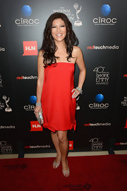 Julie opted for a rich red dress with bow detailing at the hem for the Daytime Emmy Awards.