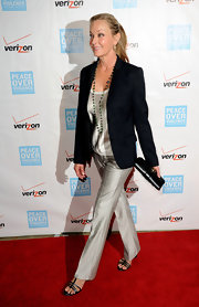 Bo Derek looked super chic at the Peace Over Violence Humanitarian Awards in a black blazer, silver shirt, and silver slacks.