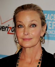 Bo Derek accessorized with a pair of diamond hoop earrings at the Peace Over Violence Humanitarian Awards.
