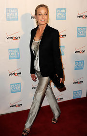 Bo Derek shimmered in a pair of silver slacks and an equally dazzling top at the Peace Over Violence Humanitarian Awards.