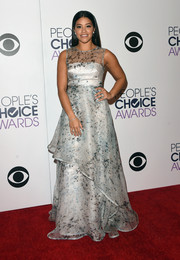 Gina Rodriguez looked like a princess in a Nha Khanh speckle-print sheer-overlay gown at the People's Choice Awards.