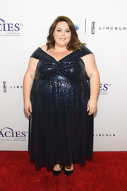 Chrissy Metz sparkled in a midnight-blue sequin gown at the Gracie Awards.
