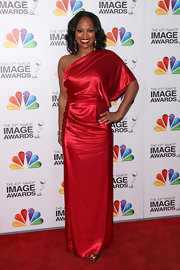DeShawn Snow wore this Grecian silk gown to the NAACP Image Awards.