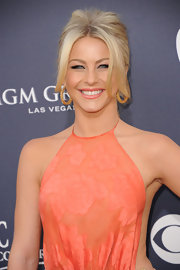 Julianne Hough paired her voluminous ponytail with chunky gold hoop earrings.