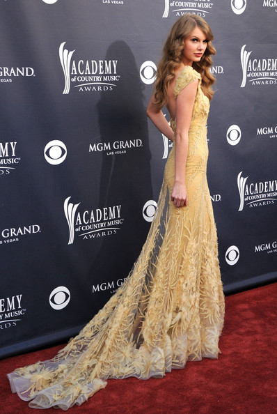 Elie Saab's Trained Yellow Gown at the 2011 ACMAs
