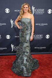 Laura Bell Bundy shined at the ACMAs in an opulent icy blue textured evening gown with a glamorously chic silhouette.