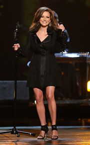 Martina McBride sizzled onstage at the Academy of Country Music Awards in black suede heels with gold Swarovski crystals.