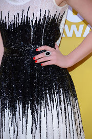 Lucy's red nail polish against her black-and-white gown was brilliant!