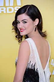 Lucy's red lips really popped against her fair skin and monochromatic dress.