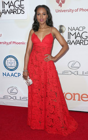 Kerry Washington hovered between sweet and seductive in a lacy, lingerie-inspired red gown by Zuhair Murad during the NAACP Image Awards.
