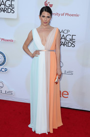 Karla Souza chose a multicolored Raoul gown in a classic Grecian silhouette for her NAACP Image Awards look.