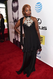 Estelle donned a tiered black halter gown with a bedazzled neckline for her NAACP Image Awards look.