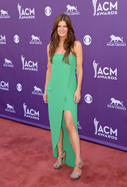 Michelle Stafford chose a green strapless number, featuring a front slit and high low hem.