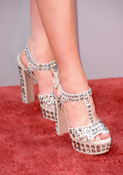 Kelleigh Bannen showed off her hardware with these platform studded heels.