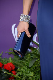 Kimberly Schlapman matched her clutch to her dress with this metallic blue patent leather clutch.