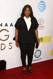 Octavia Spencer kept it casual yet smart in a black-and-white peplum top at the NAACP Image Awards.