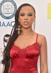 Serayah McNeill wore her hair in side-swept cornrows when she attended the NAACP Image Awards.