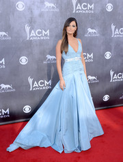 Kacey Musgraves made a grand entrance at the ACM Awards in a powder-blue Miu Miu gown with a voluminous skirt.