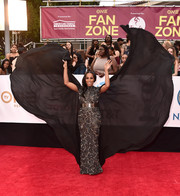 June Ambrose gave us major cape action in this heavily beaded Michael Costello number at the 2018 NAACP Image Awards.