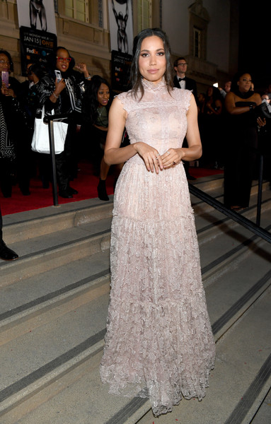 Jurnee Smollett-Bell was sweet and elegant in a baby-pink lace gown by Christos Costarellos at the 2018 NAACP Image Awards.