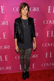 Stephanie Szostak chose a classic black leather jacket for her look at the Elle Women in Music Celebration.