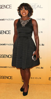 Viola Davis donned classic black suede platform pumps to the 'Essence' Black Women in Hollywood luncheon.
