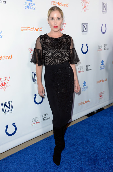 Christina Applegate matched her top with a sparkly black pencil skirt.