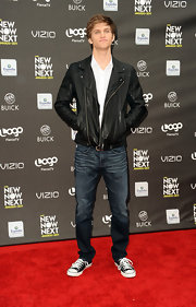 Keegan Allen flaunted another leather jacket at the NewNowNext Awards.