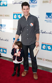 Max Greenfield sported a classic plaid button down at the Milk + Bookies Story Time Event.