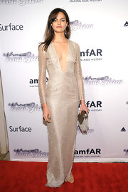 Barbara Fialho chose a deep V-neck long-sleeve gown for the amfAR Inspiration Gala New York.