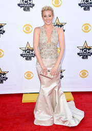 Kellie Pickler looked radiant at the Academy of Country Music Awards in a champagne Lorena Sarbu gown featuring a beaded bodice and a flowing skirt.