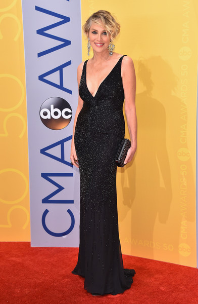 Sharon Stone wore this plunging, micro-beaded black gown to the CMA Awards!