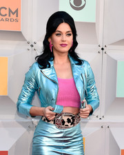 Katy Perry teamed a cow-print belt with a metallic-blue skirt suit and a pink crop-top (all by Jeremy Scott) for the Academy of Country Music Awards.