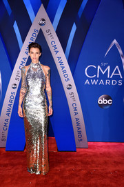 Ruby Rose looked disco-ready in a fully sequined halter gown at the 2017 CMA Awards.