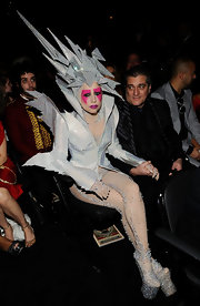 Lady Gaga attended the 2010 Grammy Awards wearing sparkling platform ankle boots.