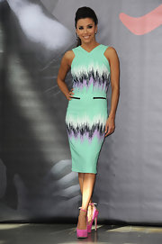 Eva Longoria's pink Brian Atwood platform pumps and mint-green dress made a very pretty color pairing.