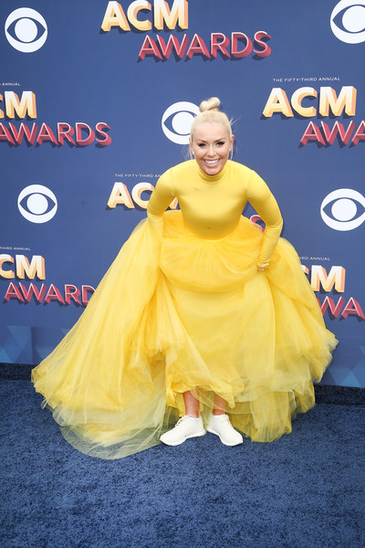 More Pics of Lindsey Vonn Princess Gown (1 of 7) - Dresses & Skirts Lookbook - StyleBistro [yellow,carpet,red carpet,dress,flooring,costume,action figure,premiere,fictional character,arrivals,lindsey vonn,nevada,las vegas,mgm grand garden arena,academy of country music awards]