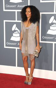 Jada Pinkett Smith hit the Grammys in silver ankle strap Boulima watersnake pumps with chain-covered cap toes.