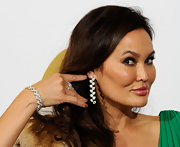 Tia Carrere dazzled at the Grammys with this diamond bracelet, ring, and earrings combo.