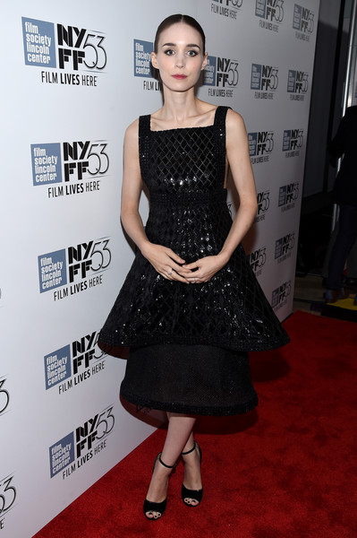 Simple black peep-toe heels by Givenchy completed Rooney Mara's red carpet look.