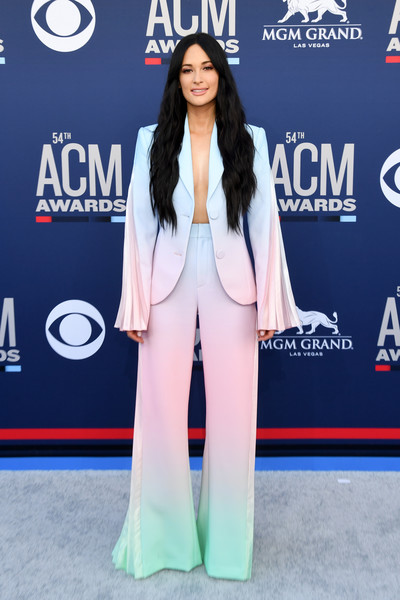More Pics of Kacey Musgraves Pantsuit (4 of 6) - Suits Lookbook - StyleBistro [clothing,red carpet,carpet,premiere,outerwear,fashion,electric blue,long hair,flooring,blazer,arrivals,kacey musgraves,mgm grand hotel casino,nevada,las vegas,academy of country music awards]