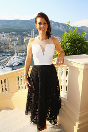 Bellamy Young went for modern elegance in a black-and-white sheer-panel dress during a Monte Carlo Television Festival cocktail reception.