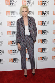 Kristen Stewart was pajama-glam in this patterned suit by Cinq à Sept at the New York Film Festival.