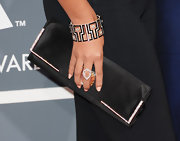 Beyonce's black satin clutch had only a hint of sparkle with diamond embellishments on the trim.